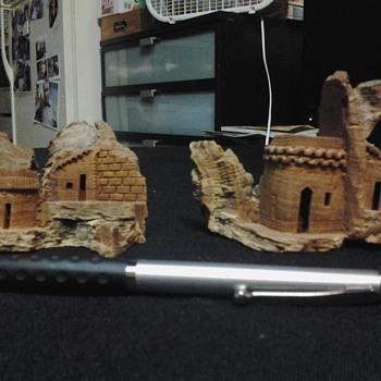miniature carved wood - Folk Art