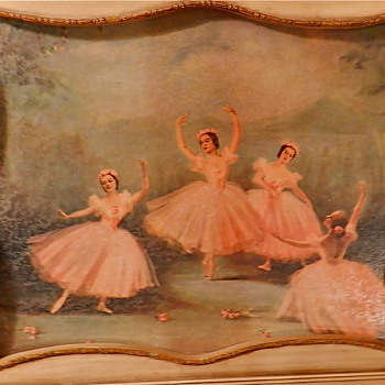 2 VINTAGE HAND PAINTED Ballerina Pictures - Creme&Gold accent frames - Posters and Prints