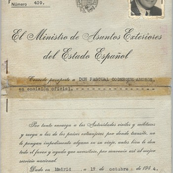 1944-45 Spanish official passport for Germany