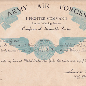 Certificate of Aircraft Warning Service, 2 letters - Military and Wartime
