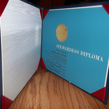 United Airlines Stewardess Diploma - Paper