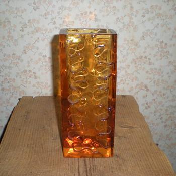 Bohemian amber glass vase 1960s. - Art Glass