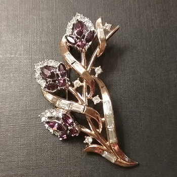 Trifari Philippe floral branch brooch  - Costume Jewelry