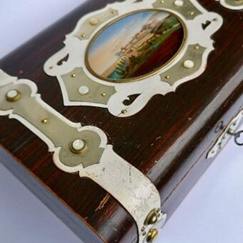 c.1880 French Trinket Rosewood Box w. Miniature Painting on Mother of Pearl  - Fine Art