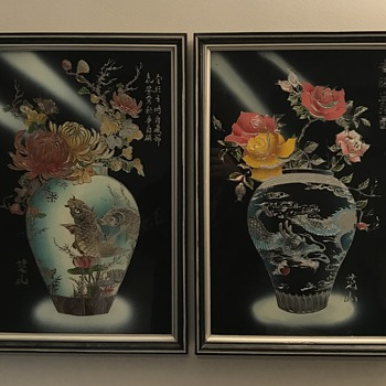 Asian  glass reverse paintings - Asian