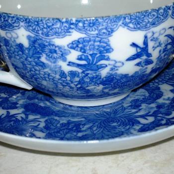 Asian Blue & White Bird  Cup  & Saucer