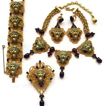 Vintage Joseph Mazer Jeweled Art Deco Lion Parure