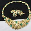 Vintage Emerald Green Glass Rhinestone Necklace Pin Set