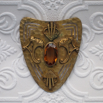 HUGE Brooch with citrine colored stone - Art Nouveau