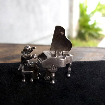Victorian Era Miniature Sterling Silver Pianist and Grand Piano Moveable Parts - Victorian Era