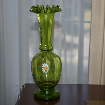 Pretty Green Glass Vase with Enameled Daisies - Art Glass