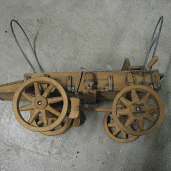 vintage handmade wooden wagon toy - Model Cars