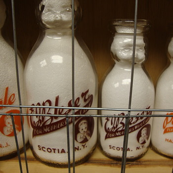 BLESSER DAIRY (SCOTIA NEW YORK) quart & pint BABY TOP MILK BOTTLE - Bottles
