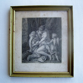 Etching: Adonis, Venus and Cupido - Posters and Prints