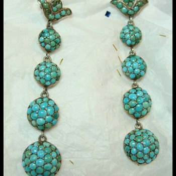 Victorian Pave Turquoise Earrings - Fine Jewelry