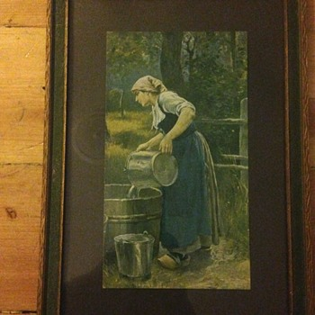 Nice old print of woman pouring water from metal bucket to wood barrel