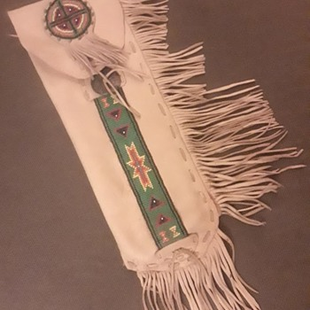 My Personal Pipe Bag, Made in Early 1980. Made of Deer Skin and Abalone Shell with Beadwork - Native American