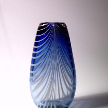 Algimantas Žilys Blue Vase with White Filaments - Art Glass