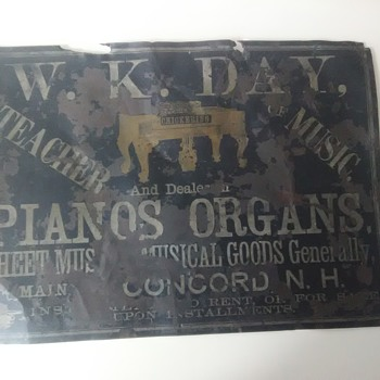 W.K Day music teacher and dealer sign - Music Memorabilia