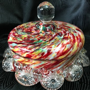 Victorian Welz spatter glass lidded trinket bowl - Art Glass