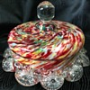 Victorian Welz spatter glass lidded trinket bowl