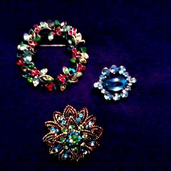 Three Mid-Century Brooch Pins - Costume Jewelry