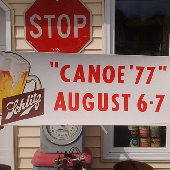 1969 SCHLITZ BEER SIGN, 1977 CANOE RACE - Breweriana