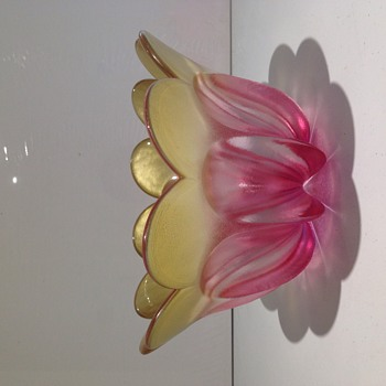 French?Czech?Art Deco?Cranberry & gold frosted glass fruit bowl - Art Glass
