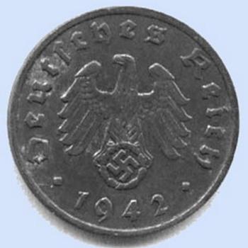 1942 Nazi Swastika coin WW2 1 Reichspfennig 'A'