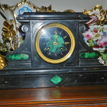 Art Deco Malachite Inlay Mantle Clock - Clocks