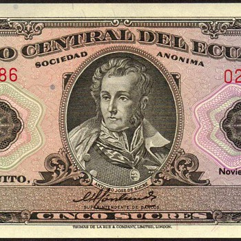 Ecuador - (5) Sucres Bank Note