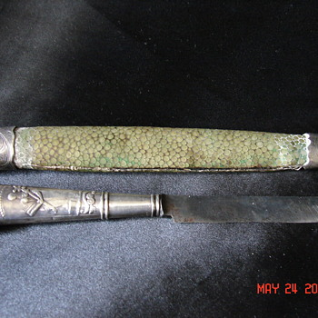 Strange Hallmarked Sterling Letter Opener With Dog Poodle And Green Skin Scabbard