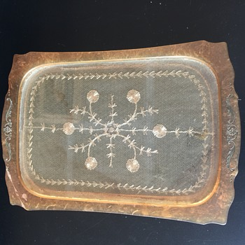 Antique Plastic Glass Lace on the inside Vanity Tray - Kitchen