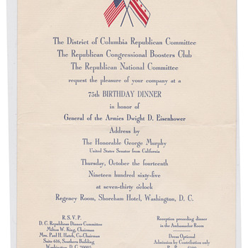 Republican Dinner 1966 in Washinton for Eisenhower - Politics