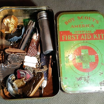 Saturday Evening Scout Post Johnson and Johnson First Aid Kit Tin Filled With Scouting Pieces - Sporting Goods