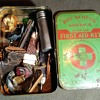 Saturday Evening Scout Post Johnson and Johnson First Aid Kit Tin Filled With Scouting Pieces