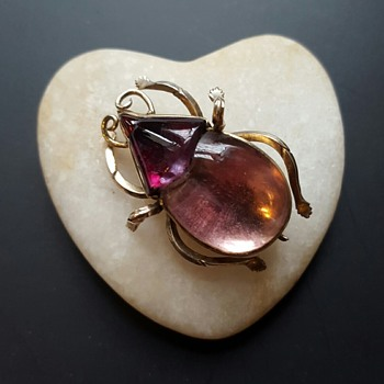 """Georgian"" foiled crystal GOLD beetle brooch. - Fine Jewelry"