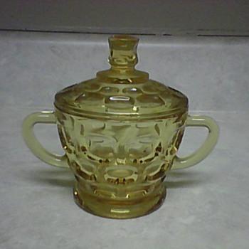 GOLD THUMB PRINT SUGAR BOWL - Glassware