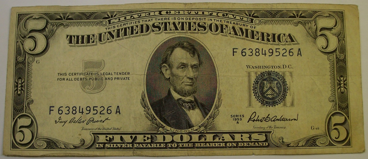 $5 Silver Certificate & Federal Reserve Notes 1934 & 1950