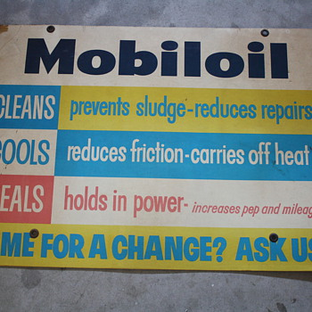 mobil oil sign and lubrication disc chart - Petroliana