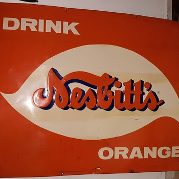 Vintage Nesbitt's Large Tin Sign Three feet x Four Circa 1960's or Earlier - Signs