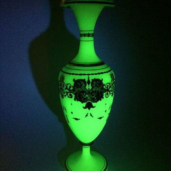 Massive Green Opaline Gilded Vase - Art Glass