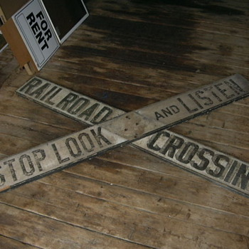 Wooden Stop Look and Listen R/R Crossing Sign - Railroadiana
