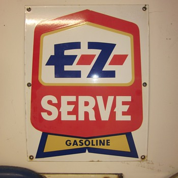 EZ Serve Porcelain Gasoline Pump Plate and DX Porcelain Face Plate Sign  - Petroliana