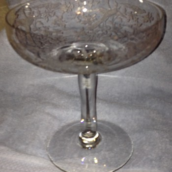 Fostoria Glass Champagne Glass (Extra Large) Etch #250 Oriental, 1920's. - Glassware