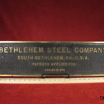 Bethlehem Steel Engine Plate - Military and Wartime