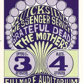 Quicksilver, Grateful Dead, the Mothers, BG-009-RPC-B - Music Memorabilia