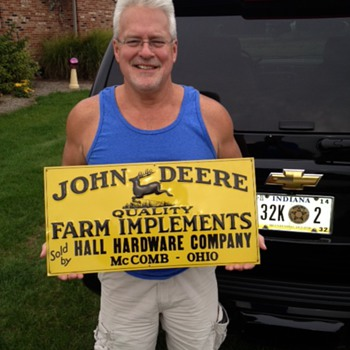 Original John Deere Embossed Tin Sign...Made By The American Art Works Inc., Cochocton, Ohio - Signs