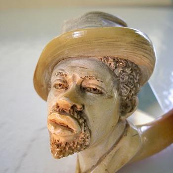 Meerschaum pipe head of Af American - Tobacciana