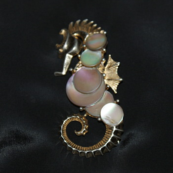 Numbered Boucher Seahorse Brooch - Costume Jewelry